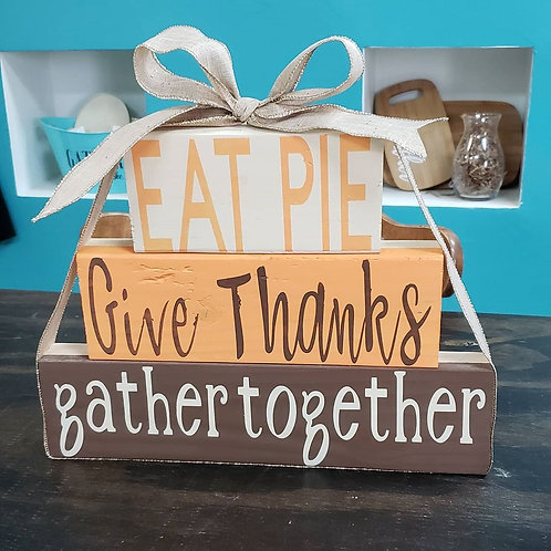 DIY: 2 Dual Holiday / Gather Together & Be Merry stacking woods