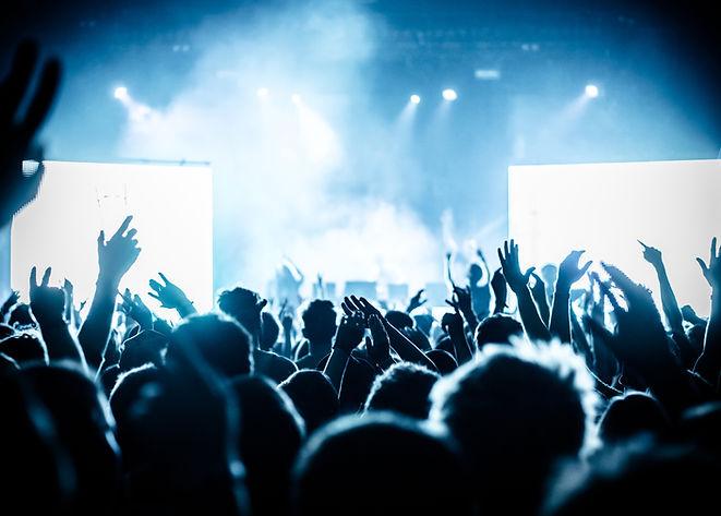 Koncert dav na živém hudebním festivalu
