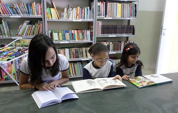 Biblioteca com diversos títulos