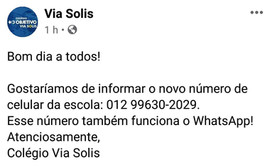 Novo nº Celular/WhatsApp do Via Solis !