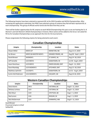 2019 Canadian and Western Championship Assignments
