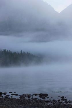 LR Lake rocks and mist