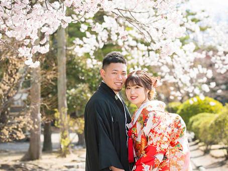 桜の松本城とあがたの森で前撮り