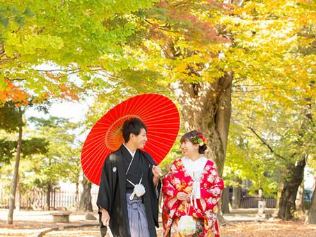 松本城での前撮り 紅葉