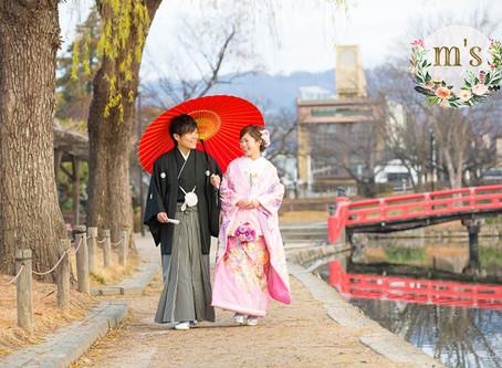 12月、松本城での前撮り