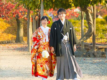 紅葉の松本城での前撮り