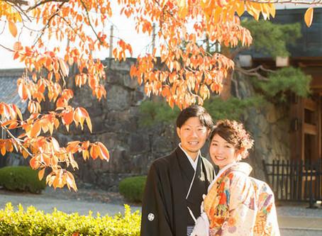 紅葉の松本城での撮影