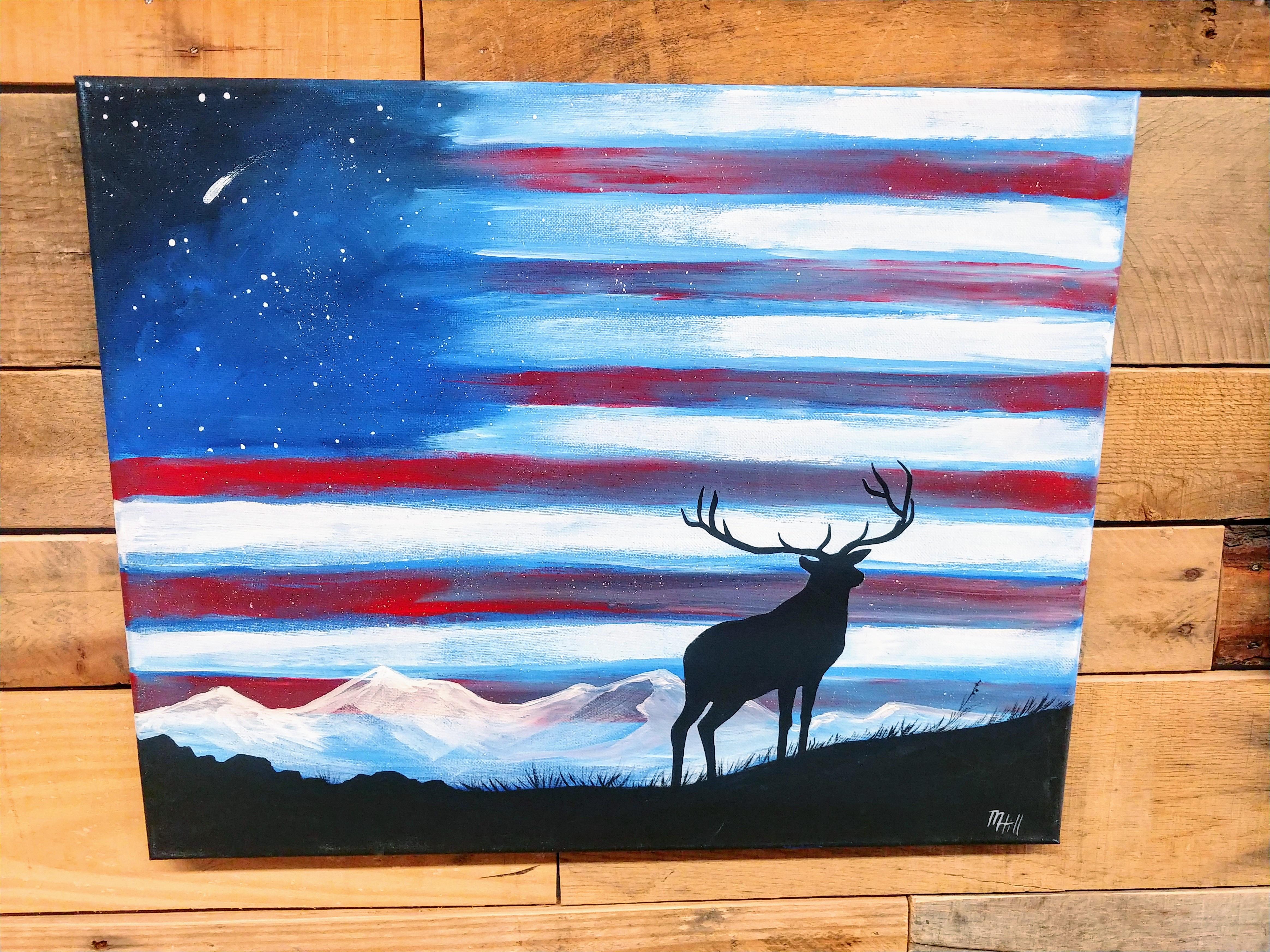 Adult Canvas Painting -Elk Flag
