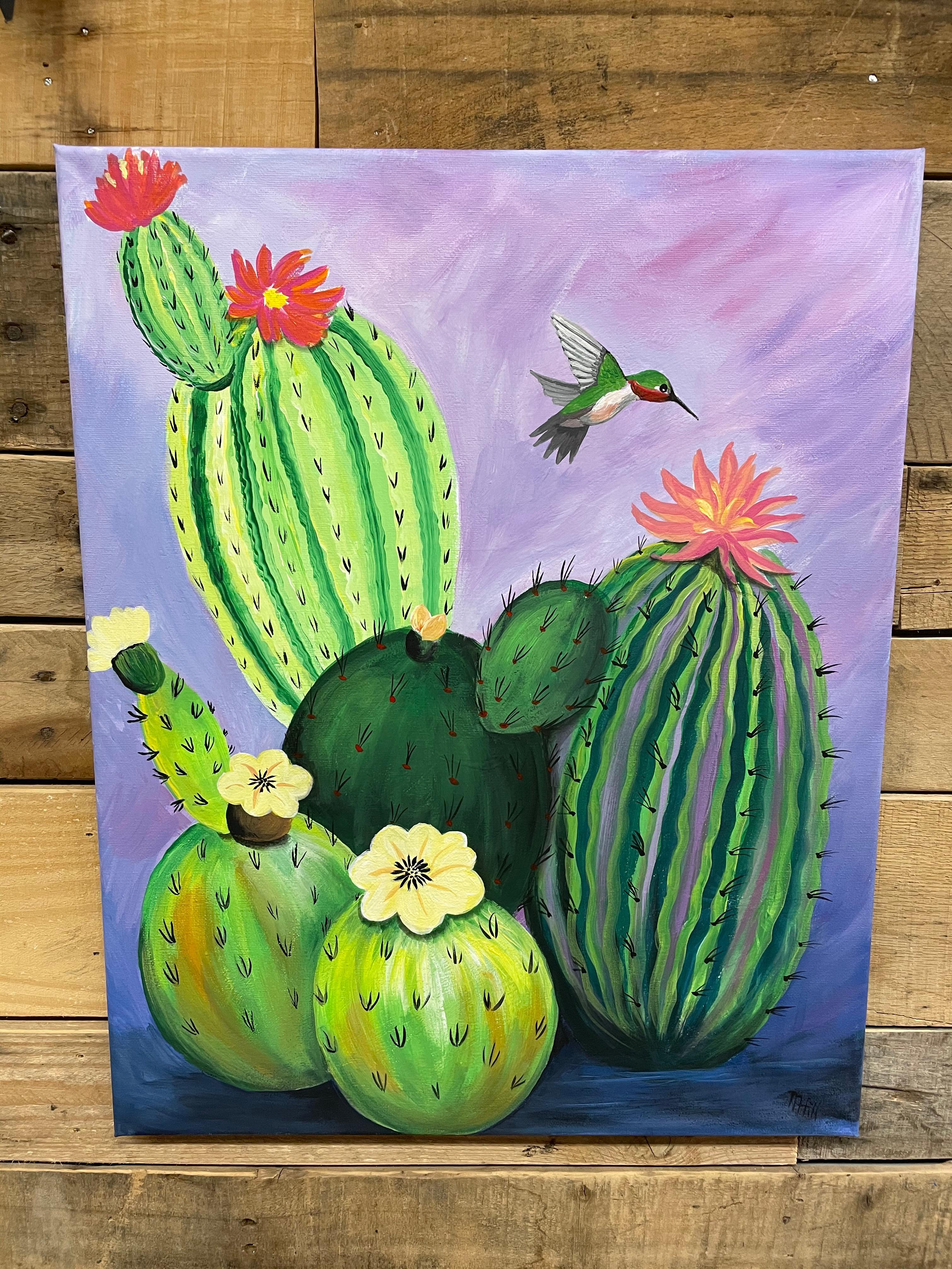Adult Canvas Painting -HummingbirdCactus