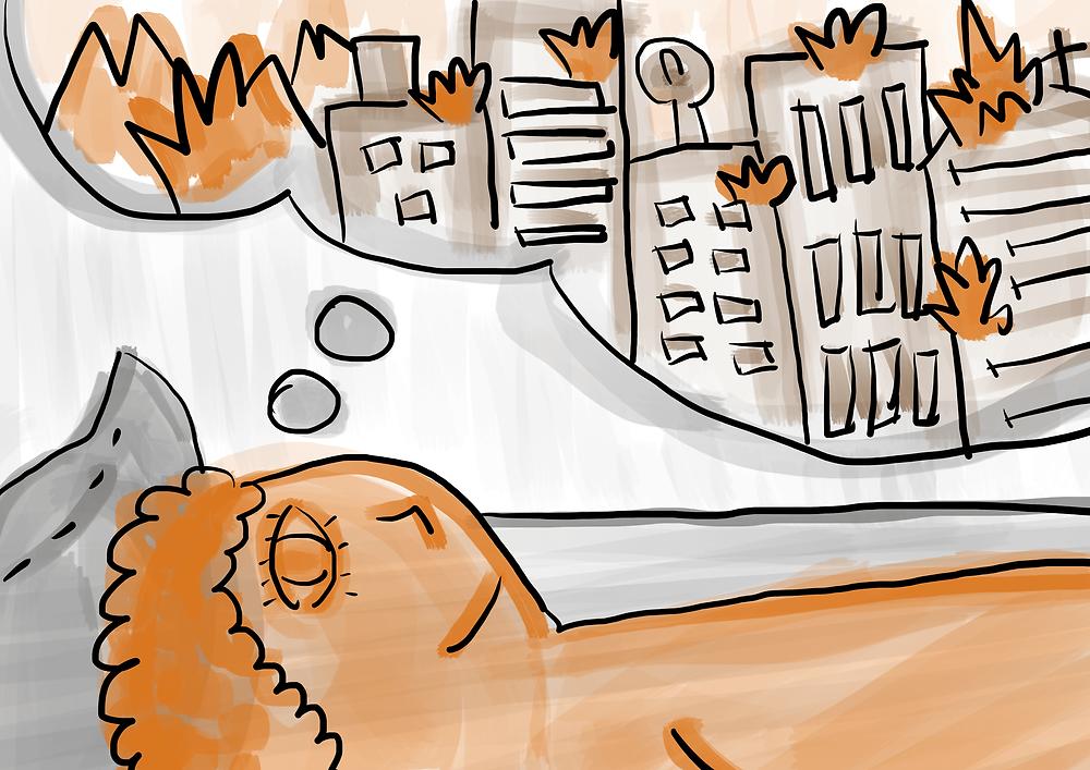 Ilustração menino deitado pensando no apocalipse