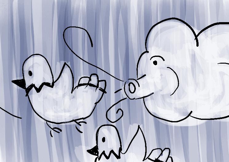 Vento soprando pombas aos pombais