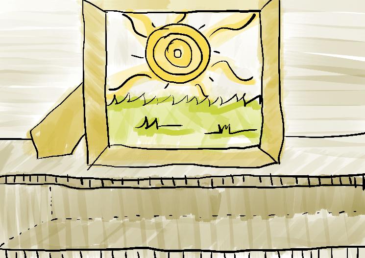 Ilustração infantil porta retrato verão