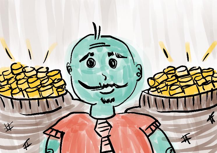 homem rico com ouro ilustração