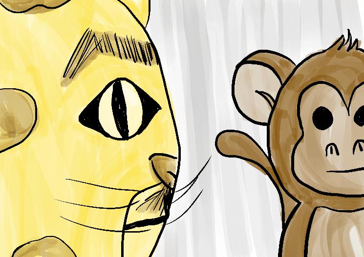 Ilustração onça e macaco infantil