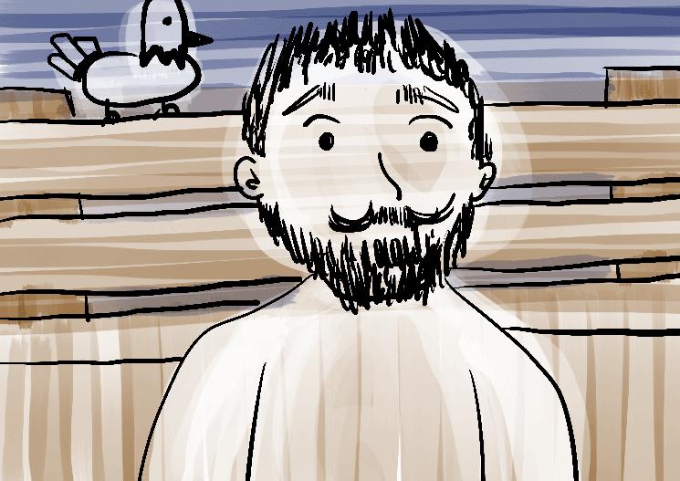 Ilustração as pombas homem sentado