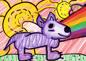 lobo arco íris sol ilustração infantil
