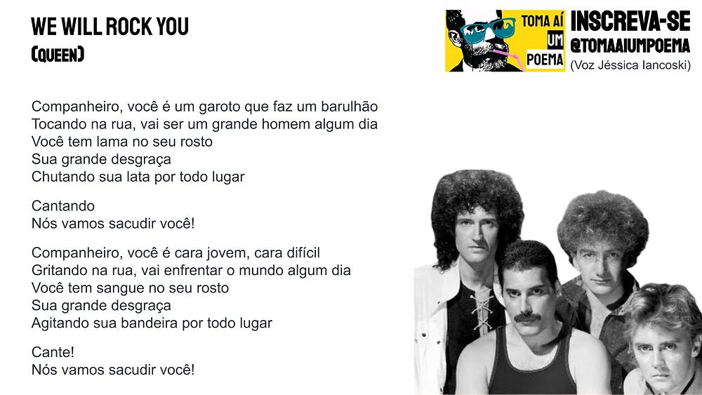 queen musica declamada we will rock you