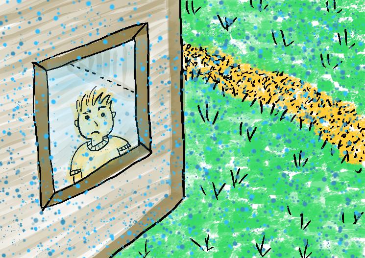 menino olhando chuva janela
