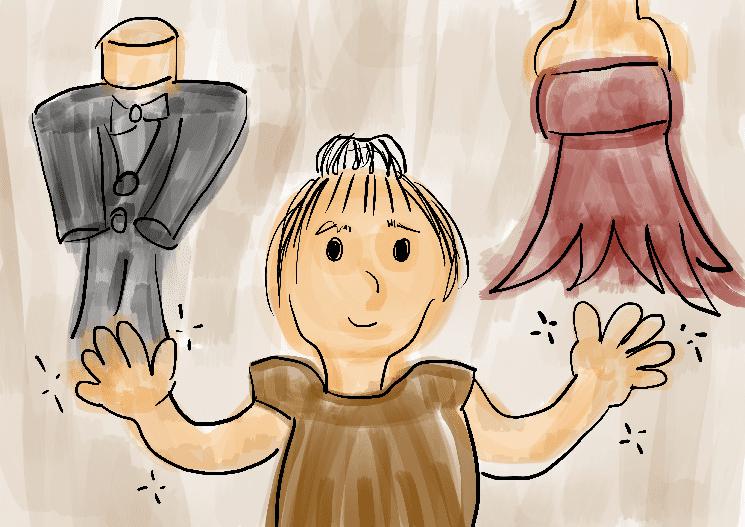 ilustração infantil costureira terno vestido