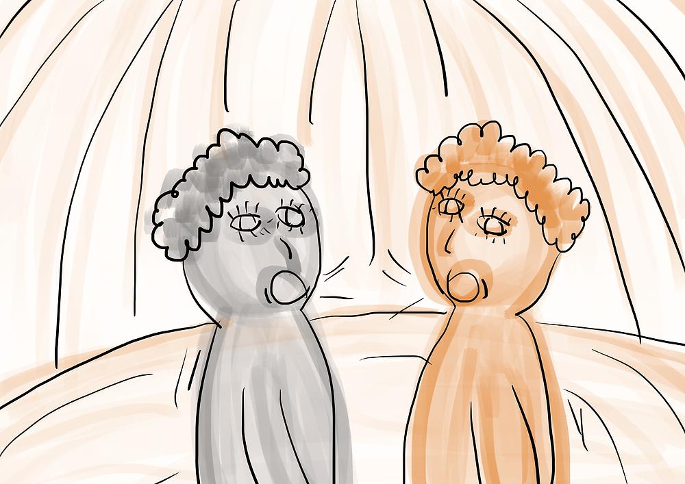 Ilustração Infantil duas pessoas conversando desennho