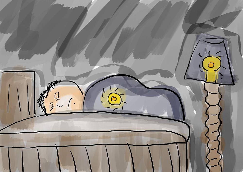 Ilustração menino deitado na cama desenho
