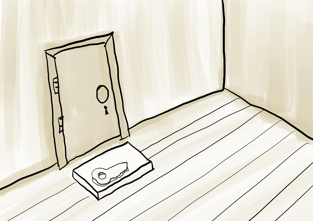 Ilustração chave embaixo do capacho