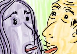 adultos discutindo ilustração