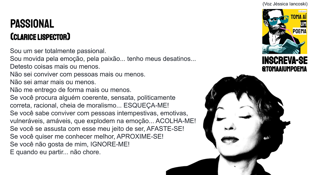 clarice lispector poema passional frase