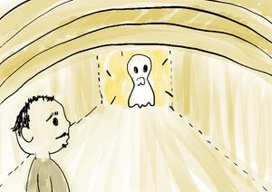 Ilustração homem vê fantasma