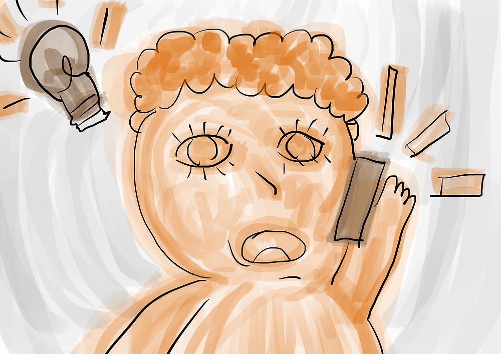 Ilustração infantil menino falando no celular desenho