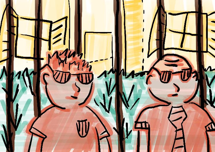 Seguranças no portão ilustração infantil