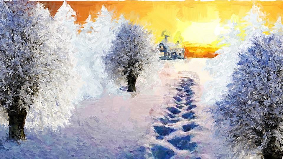 Pegadas na neve pintura