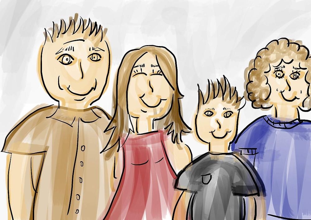 Ilustração foto de família desenho