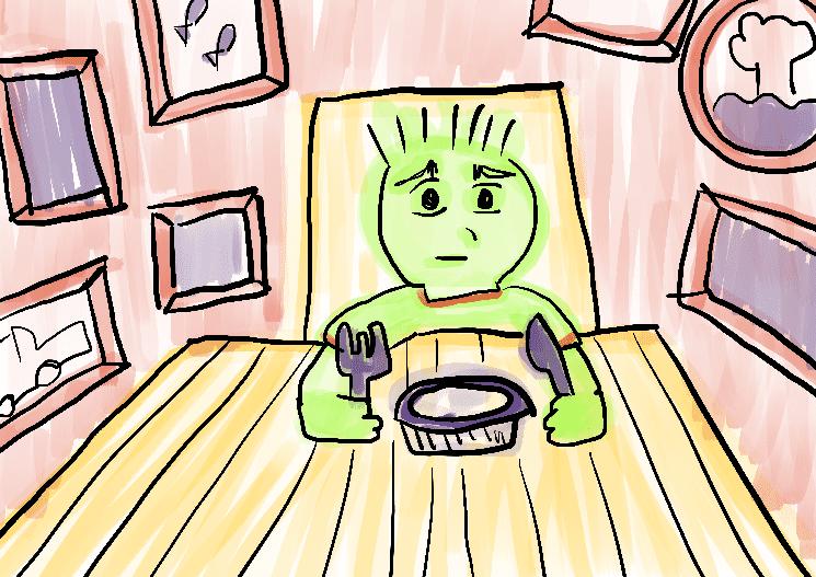 Menino com fome ilustração infantil