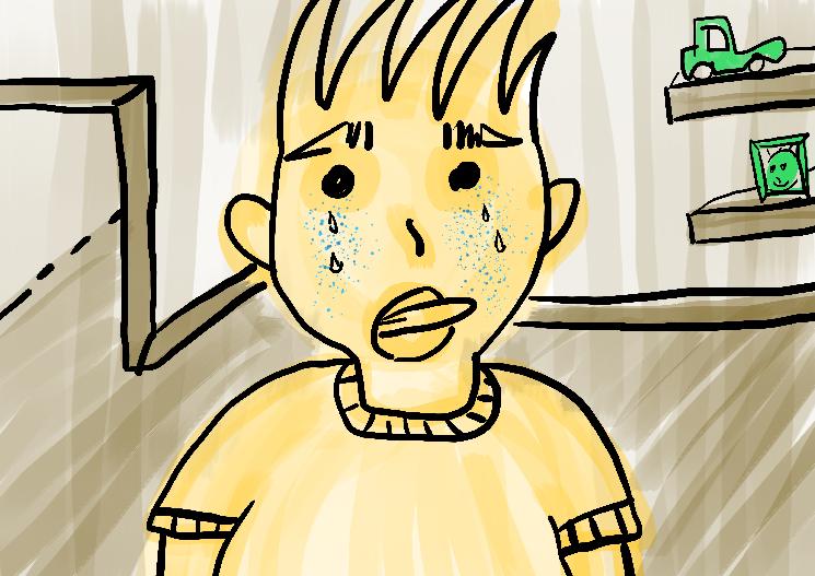 menino chorando ilustração