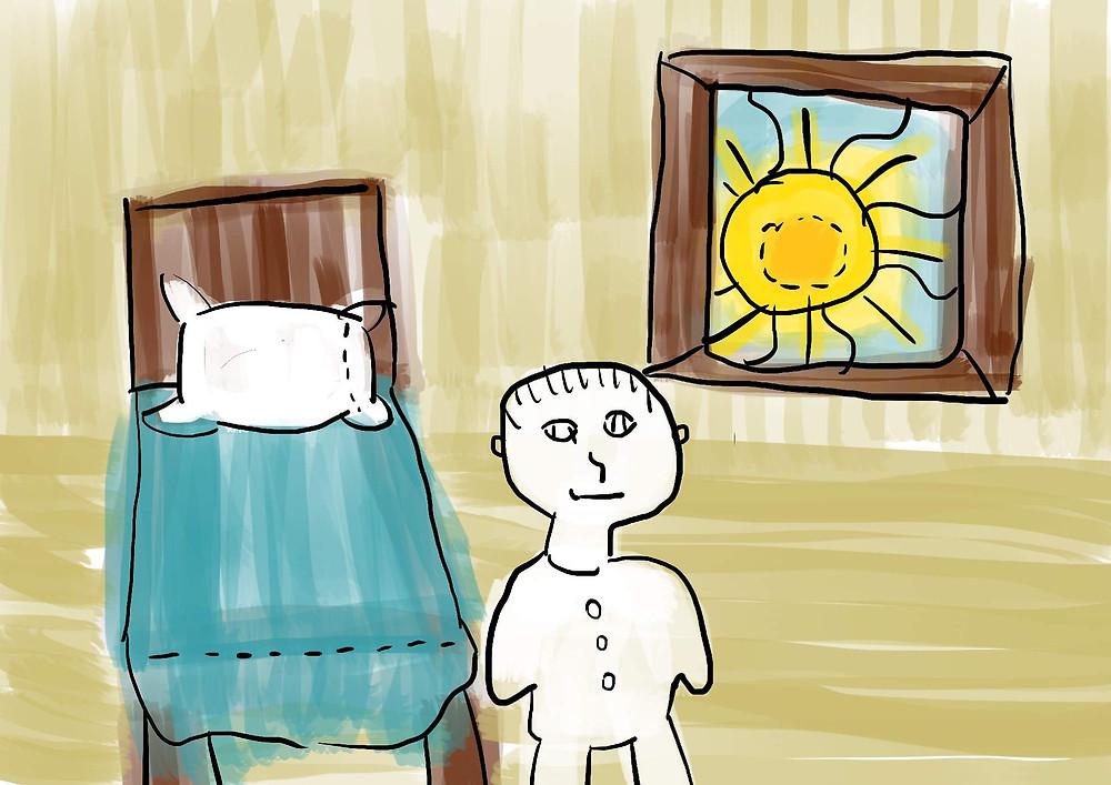 Ilustração menino em pé ao lado de cama