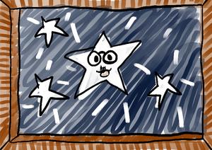 Desenho de estrela  na janela