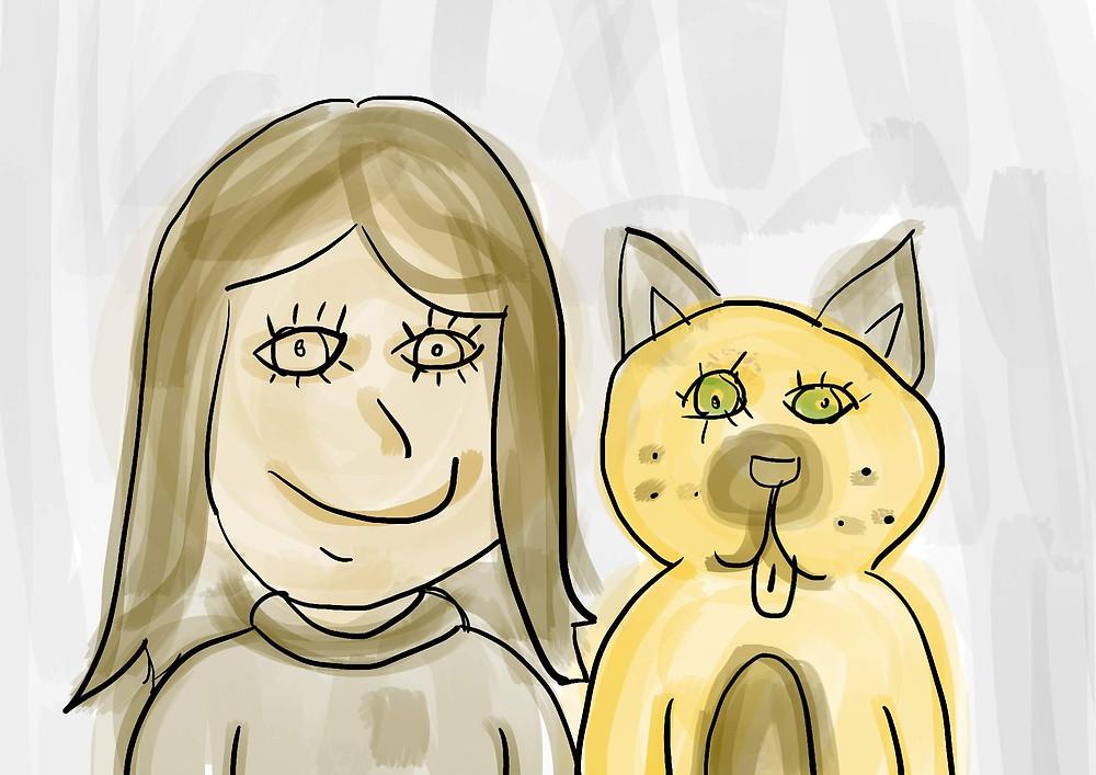 Ilustração menina e o seu cachorro