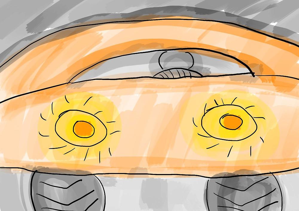 Ilustração carro com farol aceso desenho