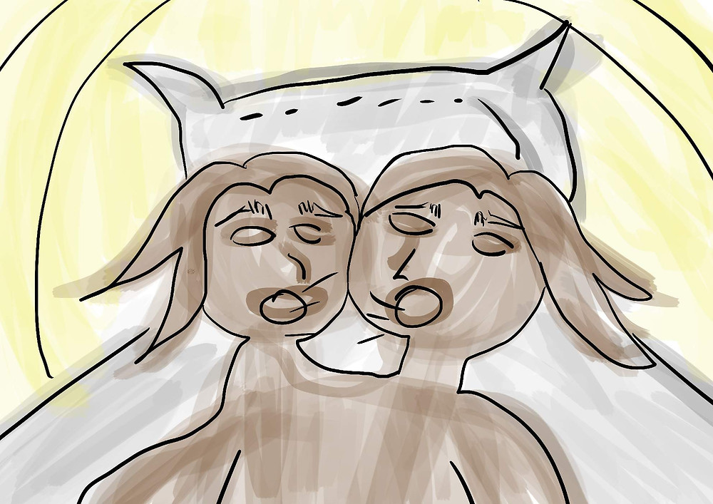 Pessoa com duas cabeças ilustração