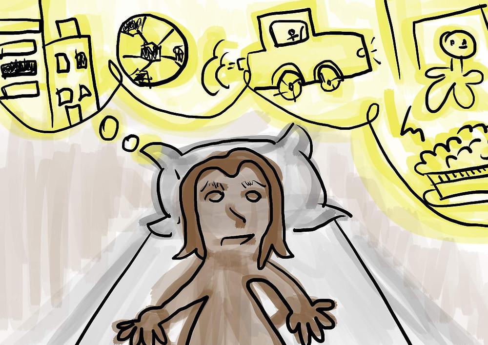 Ilustração deitada pensando antes de dormir