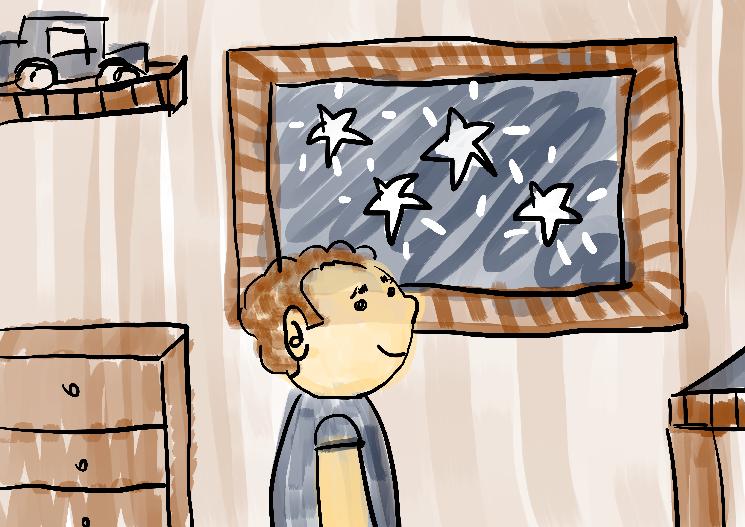 Ilustração menino olhando para as estrelas