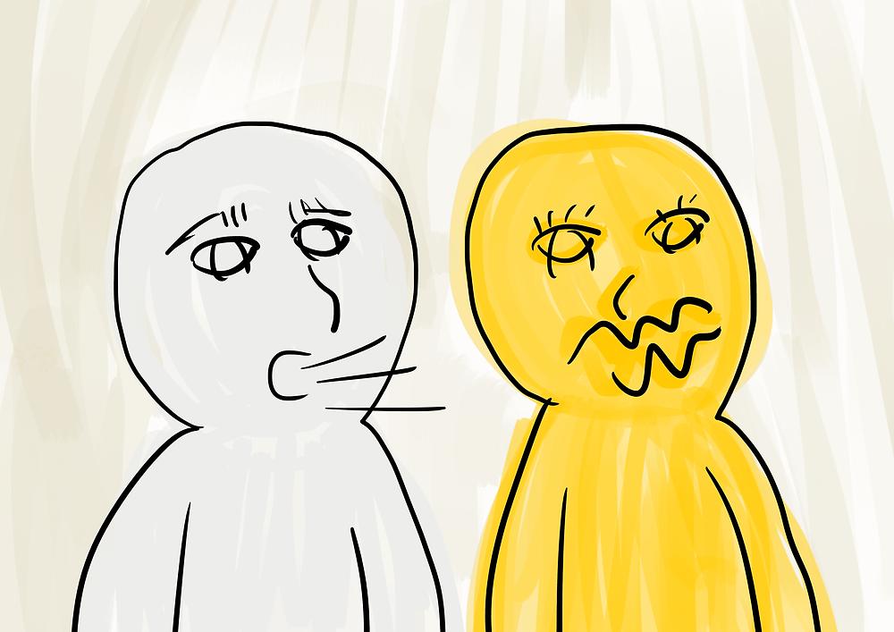 Desenho ego e id conversando
