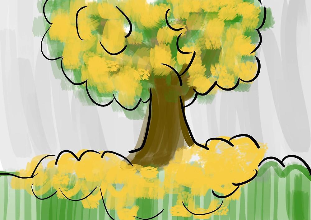 Ilustração infantil árvore ipê