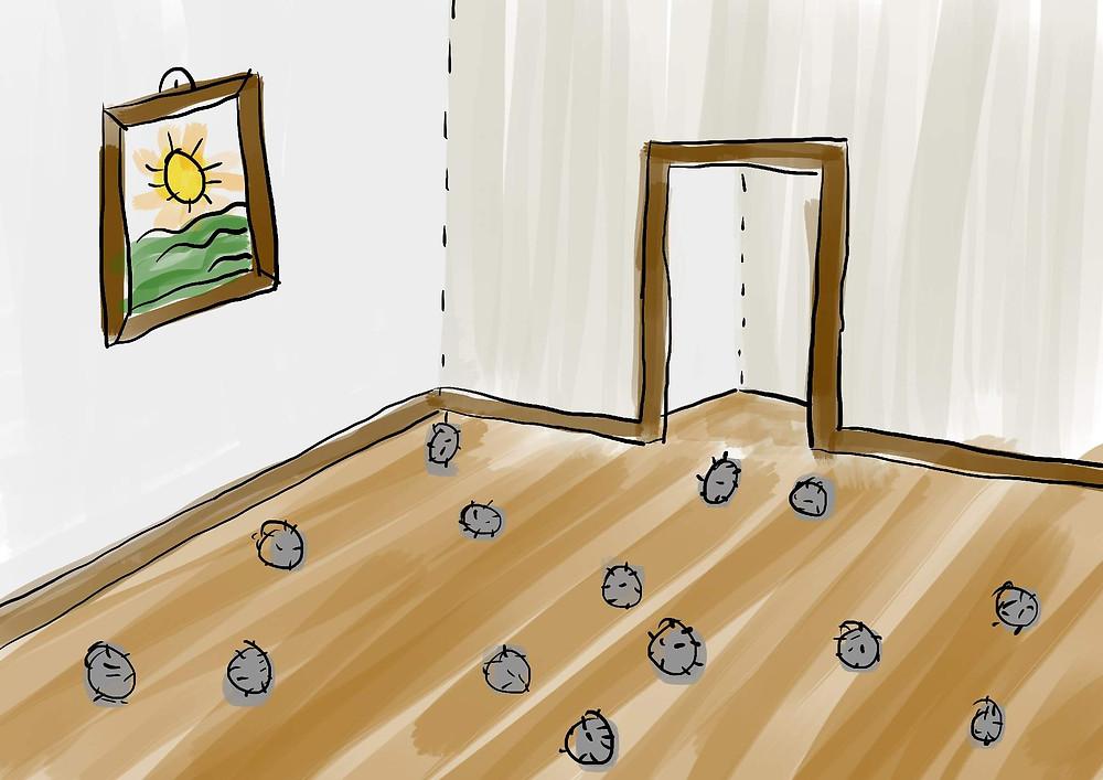 Ilustração casa invadida por ratos desenho