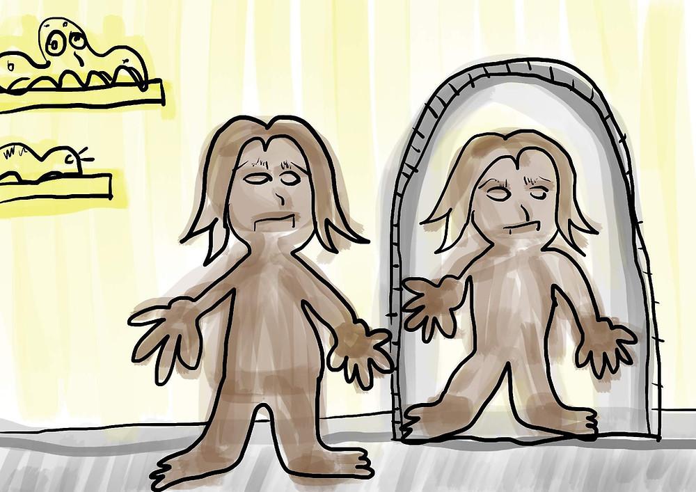 ilustração pessoa de olhando no espelho