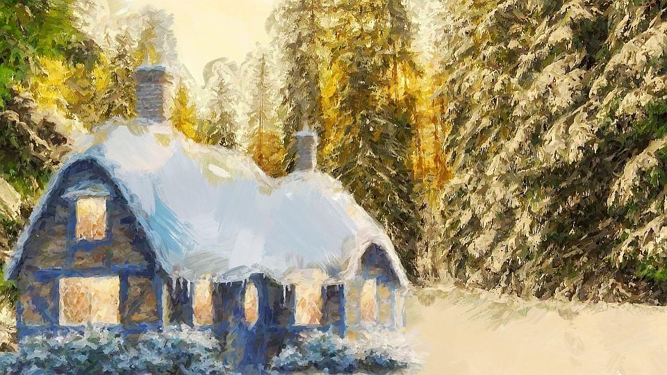 Casa com neve na floresta