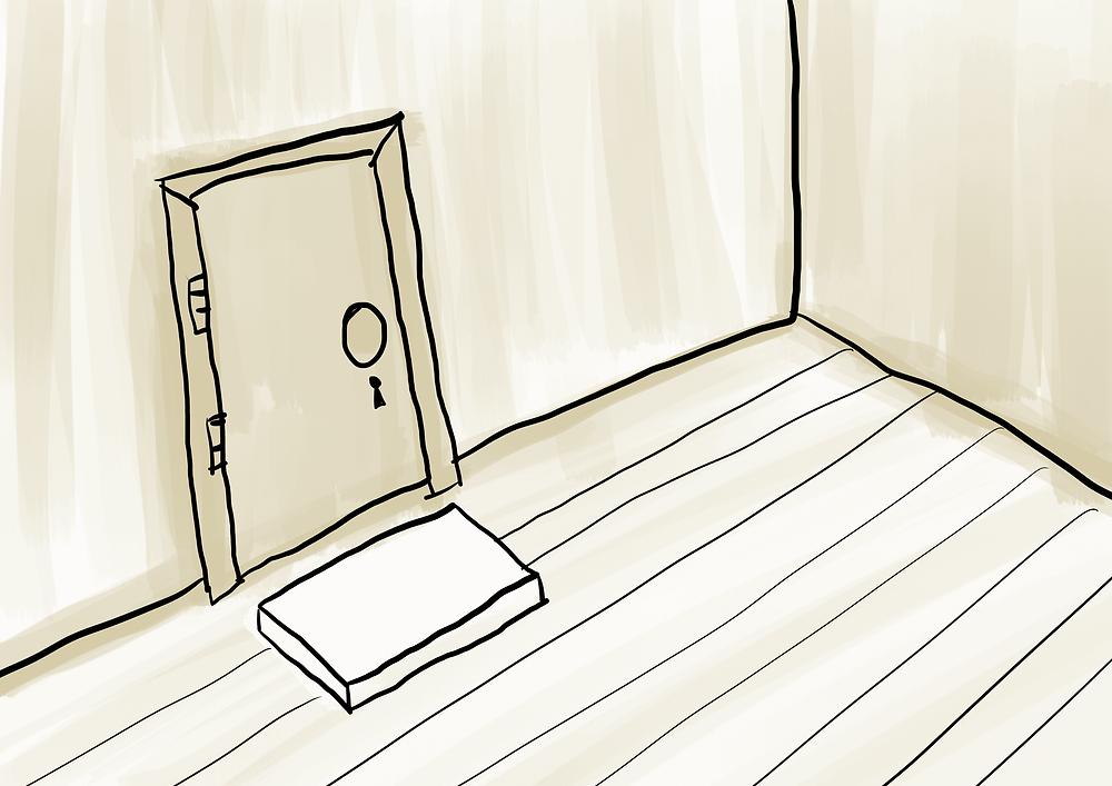 Desenho de porta com capacho