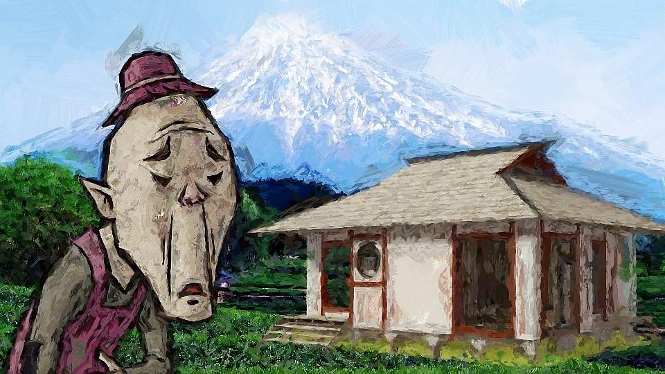 Velho japones casa montanha