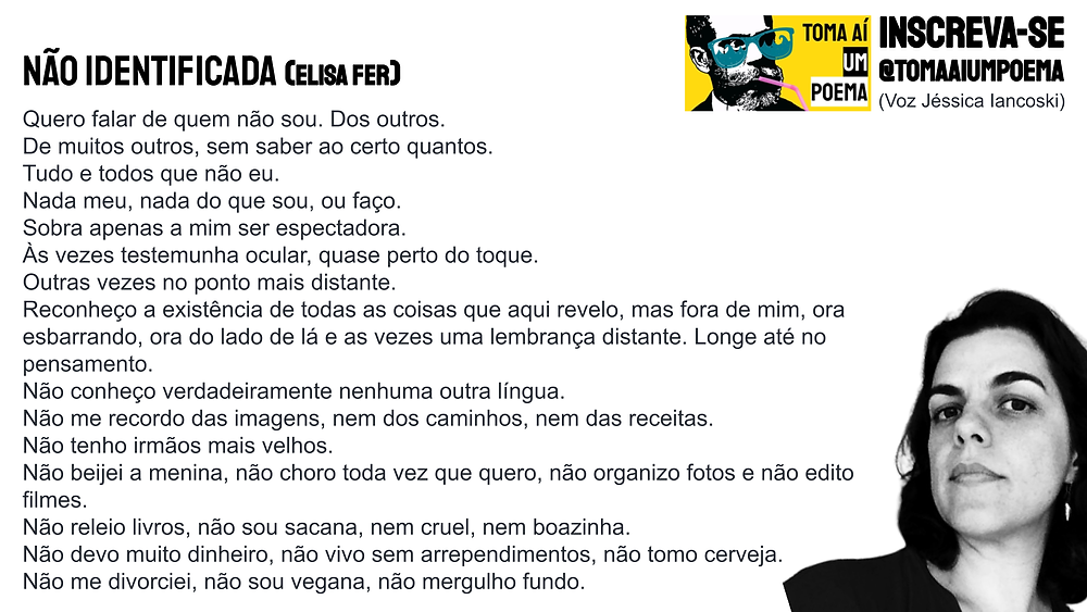 Nova poesia brasileira elisa fer não identificada